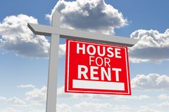 3D house for rent sign... Stock Image
