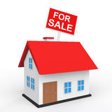 3d house with for sale placard Royalty Free Stock Photo