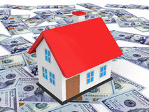 3d house on scattered dollar bills Stock Photos