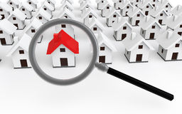 3d house search concept Royalty Free Stock Image