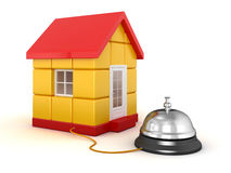 3D house and service bell. 3d render of house and service bell. Image with clipping path Royalty Free Stock Image