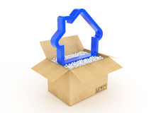 3d house shape icon in cardboard box Royalty Free Stock Image