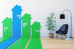 3D House-shaped arrow bar graph go upward in living room indexing Real Estate demand and value Stock Illustration