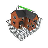 3d House in a shopping basket Royalty Free Stock Photos