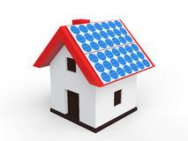 3d house with solar panels Royalty Free Stock Images