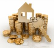 3d house symbol with key on Pile of gold coins. Conception of growth of mortgage credit Royalty Free Stock Image