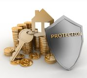 3d house symbol with key on Pile of gold coins covered by protection shield Royalty Free Stock Image