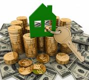 3d house symbol with key on Pile of  money. Conception of growth of mortgage credit Royalty Free Stock Image