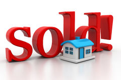 3d house with text sold Stock Images