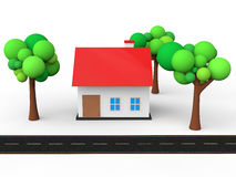 3d house with trees and road Royalty Free Stock Images