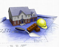 3D house under construction with partial watercolor effect Royalty Free Stock Photo
