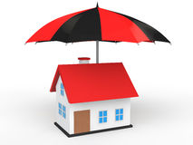 3d house under umbrella Royalty Free Stock Photography