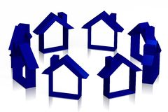 3D houses concept... Royalty Free Stock Image