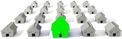 3D Houses isolated over white stock illustration