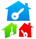 3d Houses with keyhole. Real estate, Home Security, lock, new ho Stock Photo
