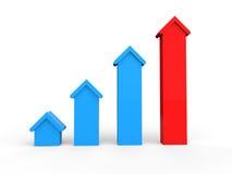 3d houses progress graph Royalty Free Stock Photo