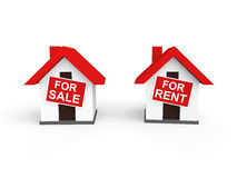 3d houses for sale and rent. 3d render of houses with for sale and for rent signs Stock Photography