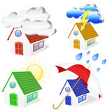 3D Houses with weather symbols set Stock Photography