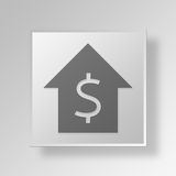 3D Housing Cost Button Icon Concept vector illustration