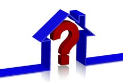 3D housing problem concept. House shape and question-mark Royalty Free Stock Photo