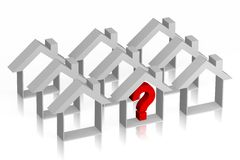 3D housing problem concept. Houses shapes and question-mark Royalty Free Stock Photos