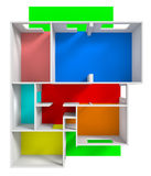 3d Housing Project. Isolated white background rendering Royalty Free Stock Photo
