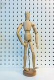 3D houten cijfer stellende het lopen actie Royalty-vrije Stock Foto's