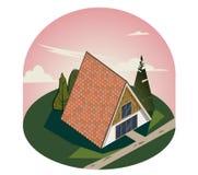 3D houten driehoekig huis met grote Vensters stock illustratie