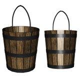3d houten emmer Royalty-vrije Stock Afbeelding