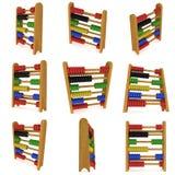 3d houten kleurrijke stuk speelgoed telraam vastgestelde inzameling Stock Illustratie