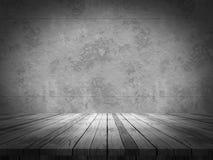 3D houten lijst die uit aan een grunge concrete muur kijken Royalty-vrije Stock Afbeeldingen