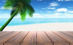 3D houten lijst die uit aan een strand met palm kijken Stock Afbeeldingen