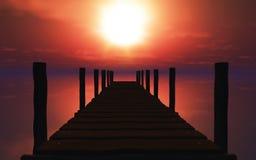 3D houten pier bij zonsondergang stock illustratie