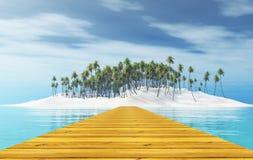 3D houten pier die tot een tropisch eiland met palmen leiden vector illustratie