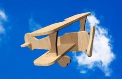 3d Houten stuk speelgoed vliegtuig Royalty-vrije Stock Foto's