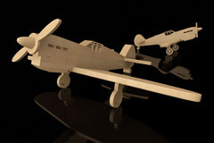 3d Houten stuk speelgoed vliegtuigen Stock Afbeelding