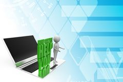 3d  how can we help you With laptop Concept Illustration Royalty Free Stock Photography