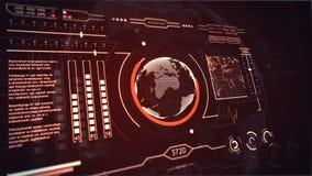 3D HUD接口行星地球红色的显示扫描 向量例证