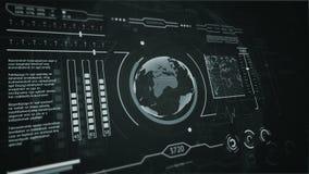 3D HUD接口行星地球银的显示扫描 向量例证