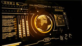 3D HUD interface display scanning of the planet Earth Gold. 4K stock footage