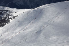 d'Huez de Alpe, centro turístico superior en las montan@as francesas Foto de archivo libre de regalías
