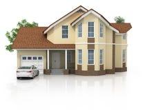 3d huis dat op wit gemaakt wordt geïsoleerd? generisch Royalty-vrije Stock Foto's