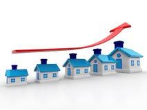 3d huis en pijlgrafiek De groei in Onroerende goederen stock illustratie