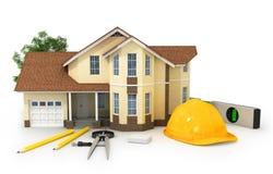 3d huis, hout en potlood, stock illustratie