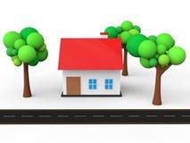 3d huis met bomen en weg Royalty-vrije Stock Afbeeldingen
