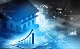 3d huis met grafiek Stock Fotografie
