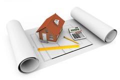 3d huis met hulpmiddelen over architectenblauwdrukken Royalty-vrije Stock Fotografie