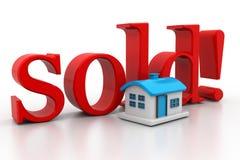 3d huis met verkochte tekst royalty-vrije illustratie