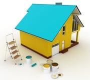 3d huis met verven en trapladder Royalty-vrije Stock Afbeelding