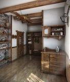 3D huis van het de stijlbad van het land, geeft terug Royalty-vrije Stock Foto